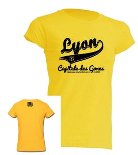 """Tshirt Femme """"lyon capitale des gones vintage"""" couleur jaune"""