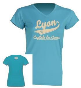 """Tshirt Femme """"lyon capitale des gones vintage"""" couleur bleu turquoise"""