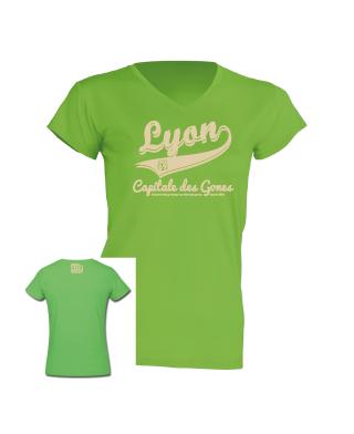 """Tshirt Femme """"lyon capitale des gones vintage"""" couleur vert"""