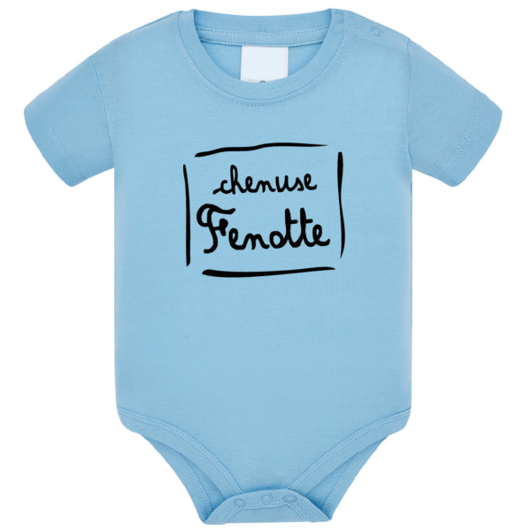 """Body bébé """"Chenuse Fenotte"""" couleur bleu ciel"""