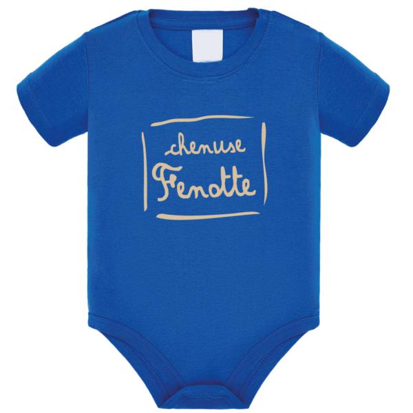 """Body bébé """"Chenuse Fenotte"""" couleur bleu roi"""