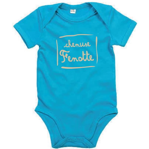 """Body bébé """"Chenuse Fenotte"""" couleur bleu turquoise"""