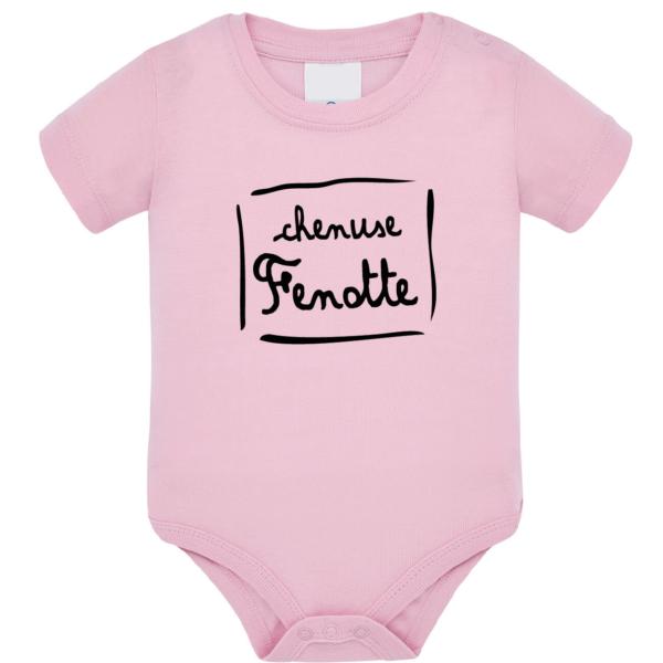 """Body bébé """"Chenuse Fenotte"""" couleur rose pale"""