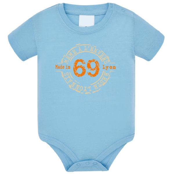 """Body bébé """"69 même à l'envers reste lyonnais"""" couleur bleu ciel"""