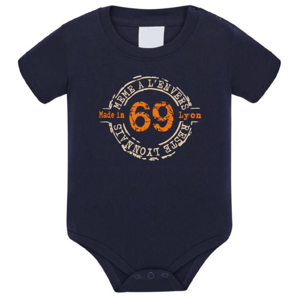 """Body bébé """"69 même à l'envers reste lyonnais"""" couleur bleu marine"""