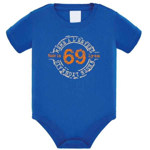 """Body bébé """"69 même à l'envers reste lyonnais"""" couleur bleu roi"""