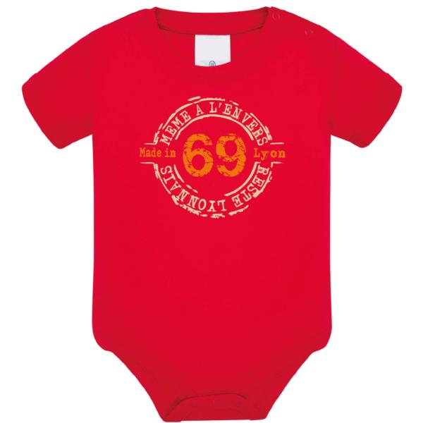 """Body bébé """"69 même à l'envers reste lyonnais"""" couleur rouge"""