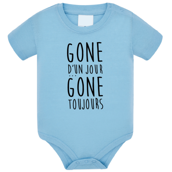 """Body bébé """"Gone d'un jour gone toujours"""" couleur bleu ciel"""