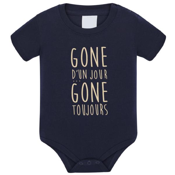 """Body bébé """"Gone d'un jour gone toujours"""" couleur bleu marine"""
