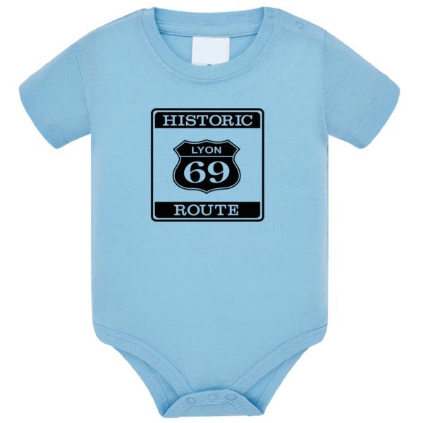 """Body bébé """"Historic route 69"""" couleur bleu ciel"""