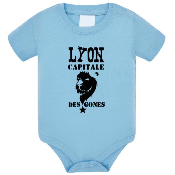 """Body bébé """"Lyon capitale des Gones"""" couleur bleu ciel"""