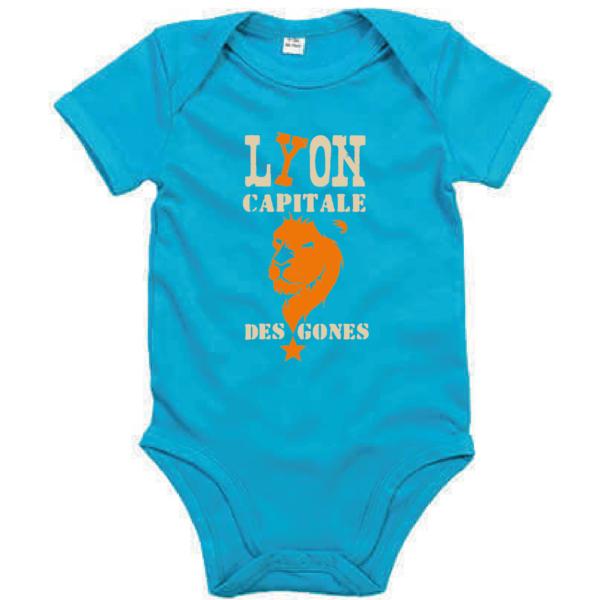 """Body bébé """"Lyon capitale des Gones"""" couleur bleu turquoise"""
