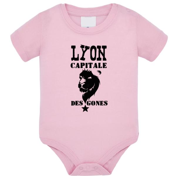 """Body bébé """"Lyon capitale des Gones"""" couleur rose pale"""