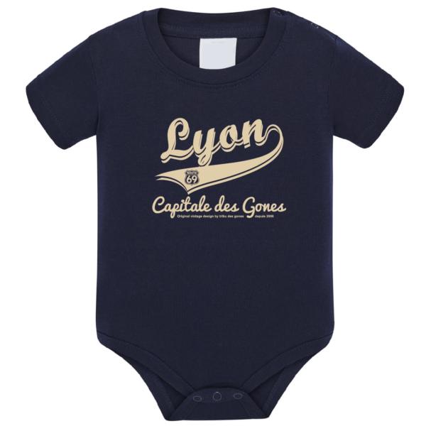 """Body bébé """"Lyon capitale des Gones"""" couleur bleu marine"""