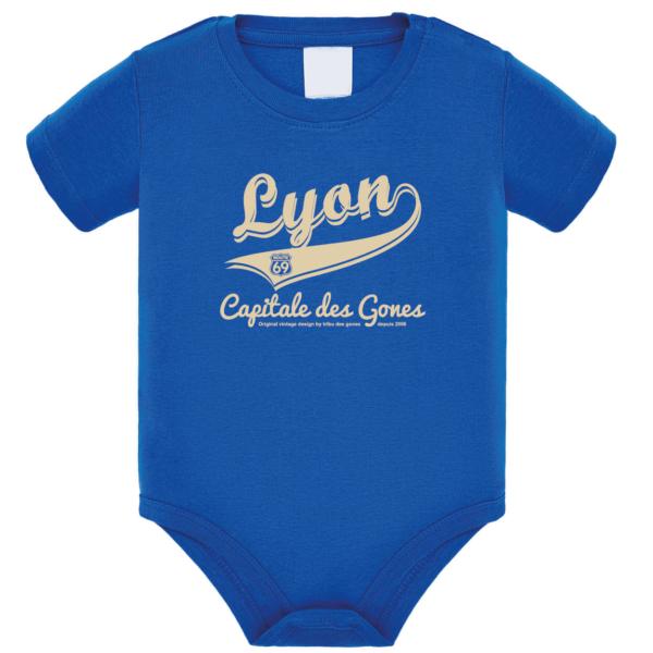 """Body bébé """"Lyon capitale des Gones"""" couleur bleu roi"""