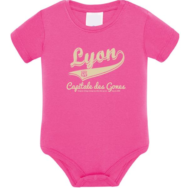 """Body bébé """"Lyon capitale des Gones"""" couleur fushia"""