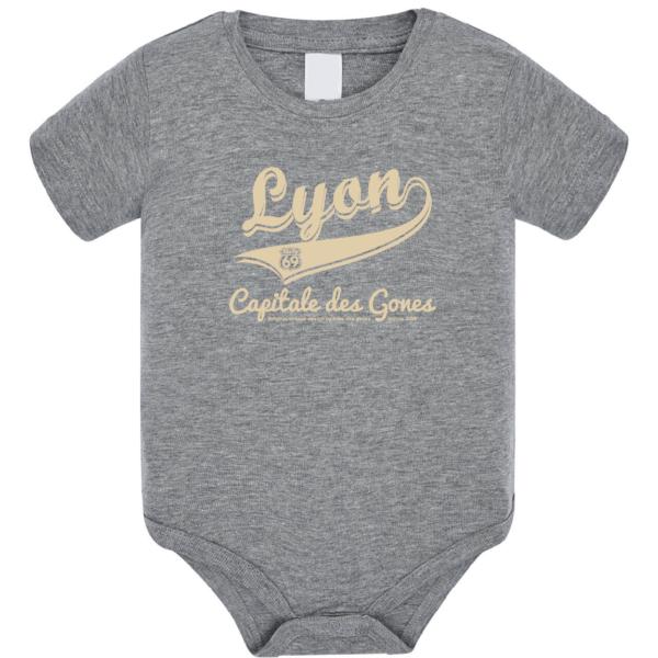 """Body bébé """"Lyon capitale des Gones"""" couleur gris"""