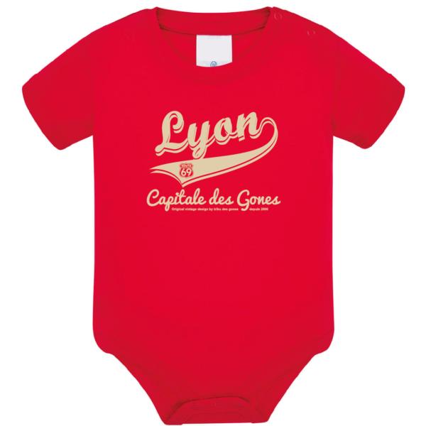 """Body bébé """"Lyon capitale des Gones"""" couleur rouge"""