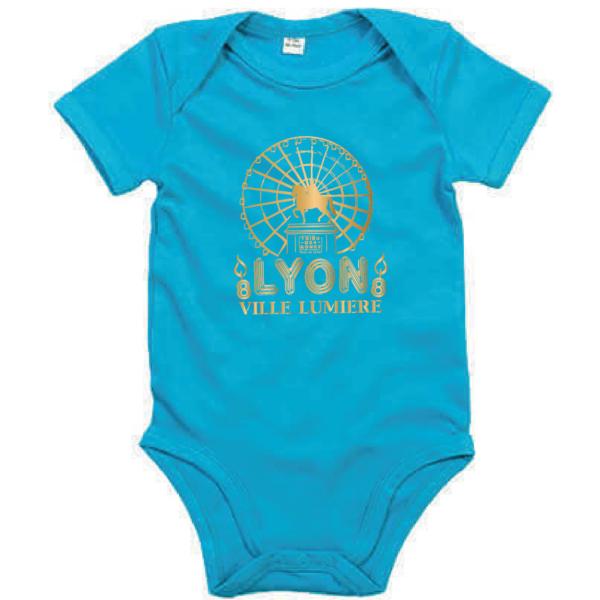 """Body bébé """"lyon ville lumière"""" couleur bleu turquoise"""