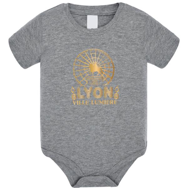 """Body bébé """"lyon ville lumière"""" couleur gris"""