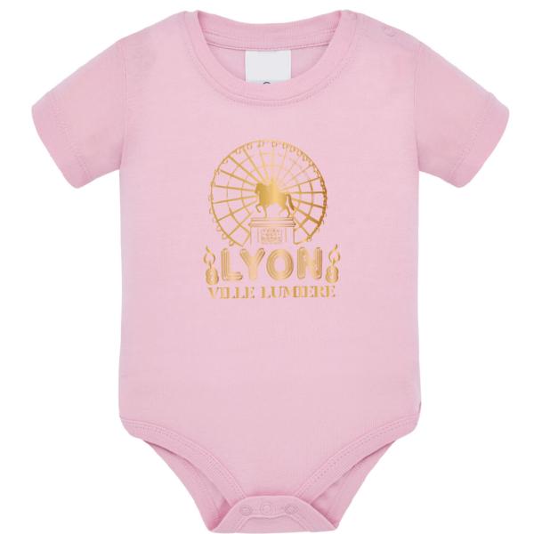 """Body bébé """"lyon ville lumière"""" couleur rose pale"""