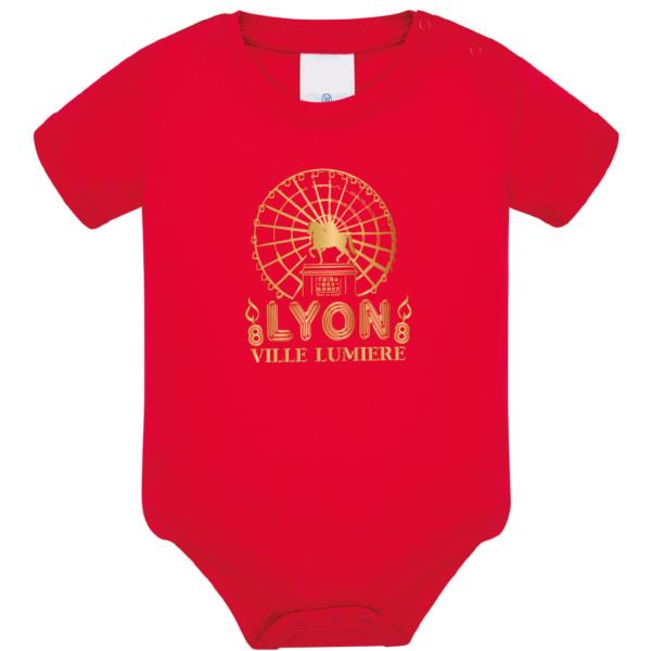 """Body bébé """"lyon ville lumière"""" couleur rouge"""
