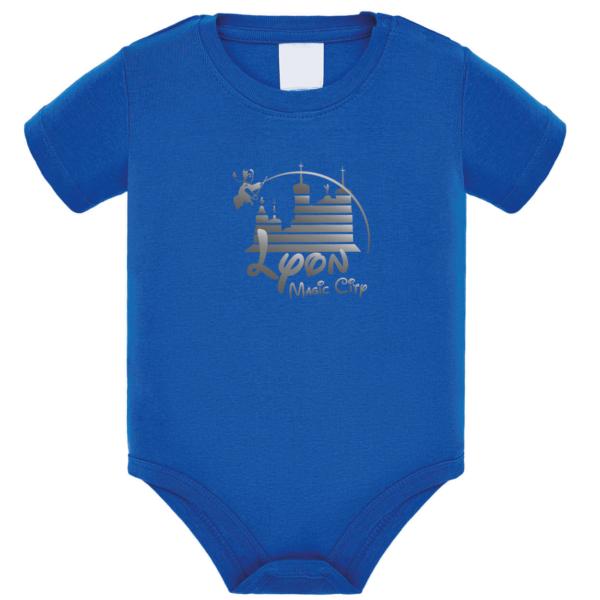 """Body bébé """"Lyon magic city"""" couleur bleu roi"""