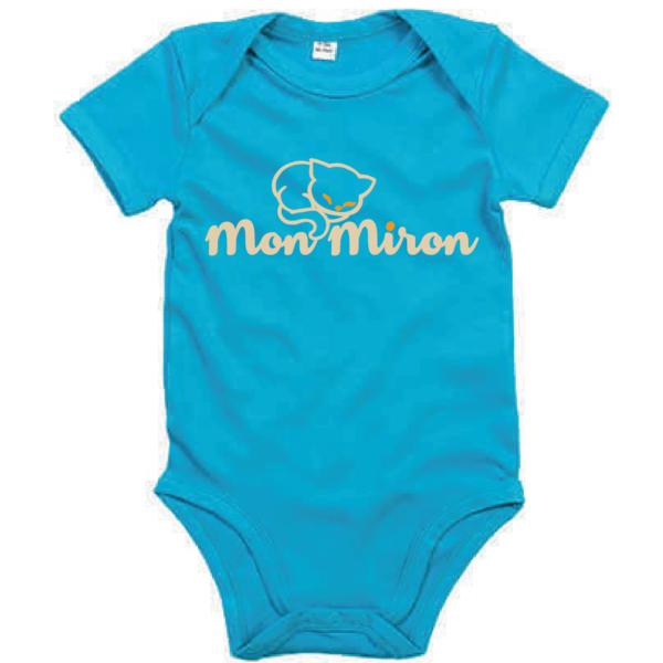 """Body bébé """"mon miron"""" couleur bleu turquoise"""