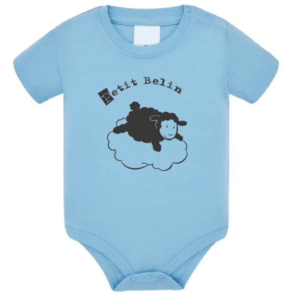 """Body bébé """"petit belin"""" couleur bleu ciel"""