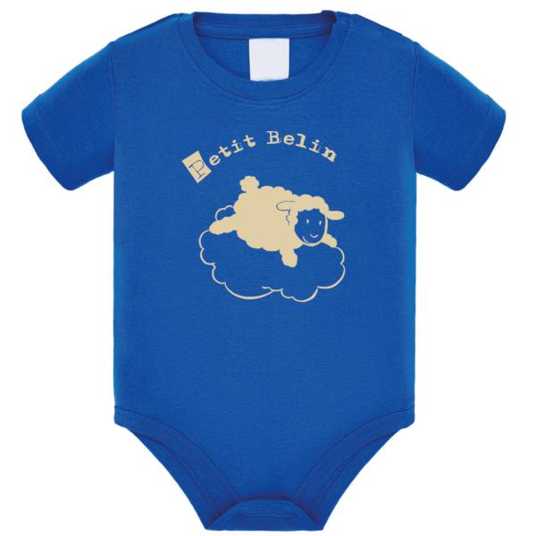 """Body bébé """"petit belin"""" couleur bleu roi"""