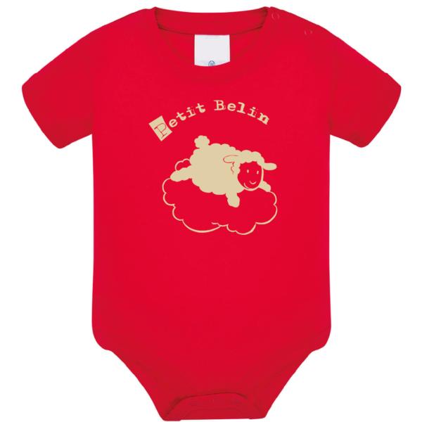 """Body bébé """"petit belin"""" couleur rouge"""