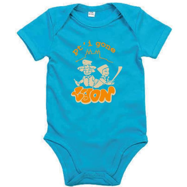 """Body bébé """"petit gone de lyon"""" couleur bleu turquoise"""