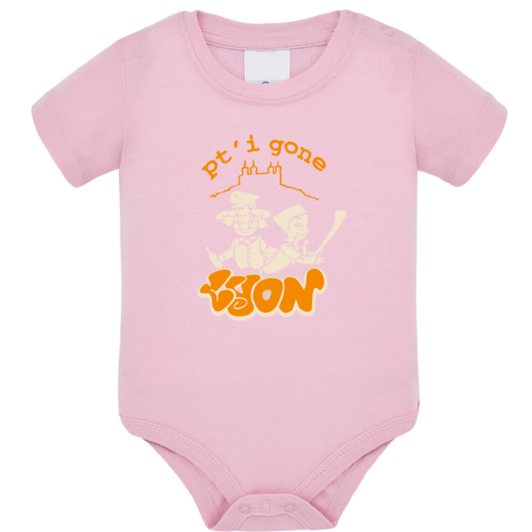 """Body bébé """"petit gone de lyon"""" couleur rose pale"""