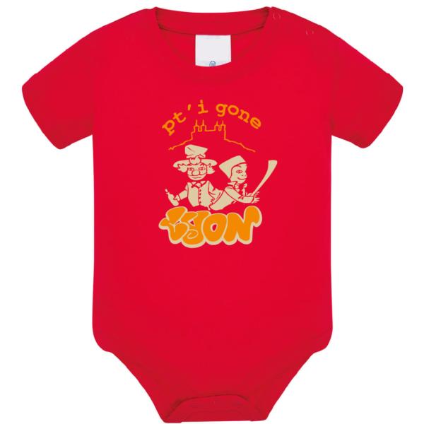 """Body bébé """"petit gone de lyon"""" couleur rouge"""
