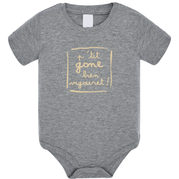 """Body bébé """"petit gone bien vigouret"""" couleur gris"""