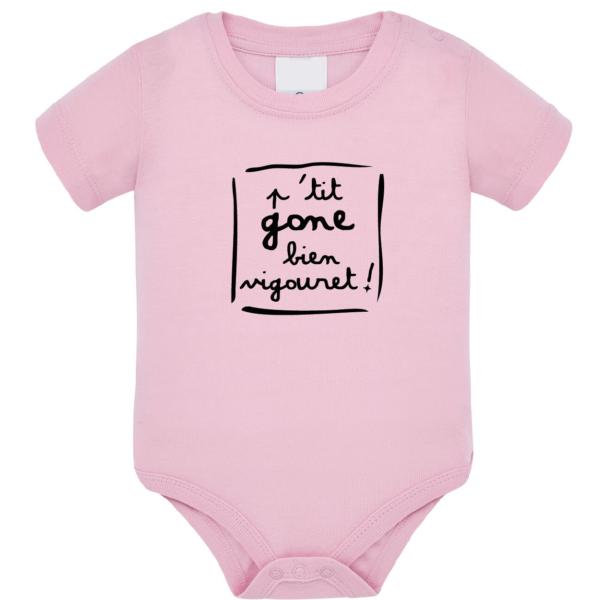 """Body bébé """"petit gone bien vigouret"""" couleur rose pale"""