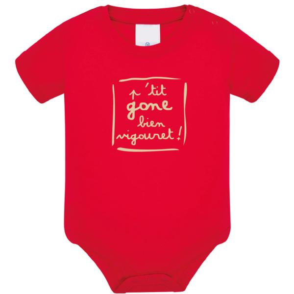 """Body bébé """"petit gone bien vigouret"""" couleur rouge"""