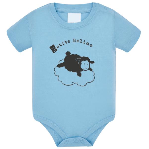 """Body bébé """"petite beline"""" couleur bleu ciel"""