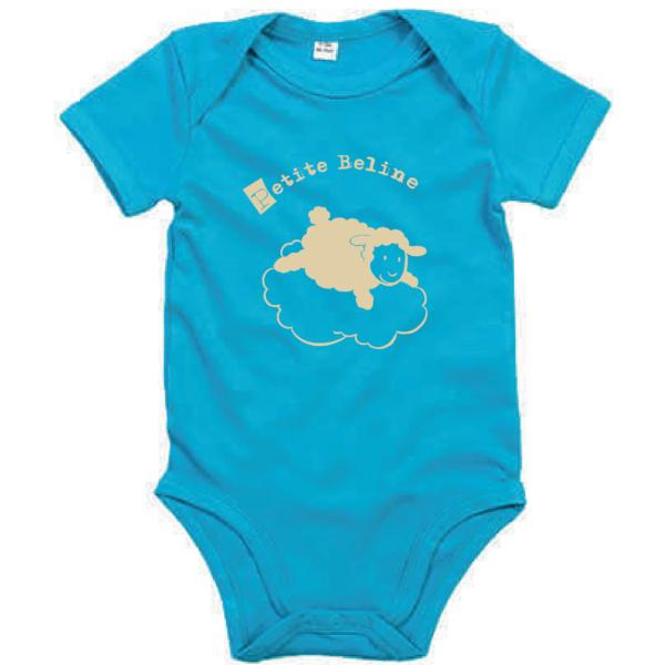 """Body bébé """"petite beline"""" couleur bleu turquoise"""
