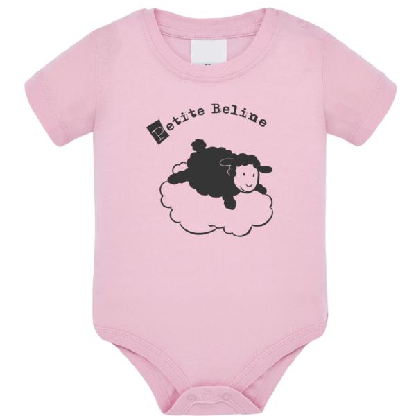 """Body bébé """"petite beline"""" couleur rose pale"""