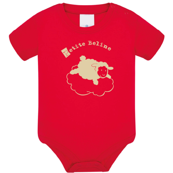 """Body bébé """"petite beline"""" couleur rouge"""