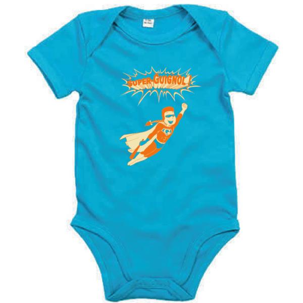 """Body bébé """"super guignol"""" couleur bleu turquoise"""