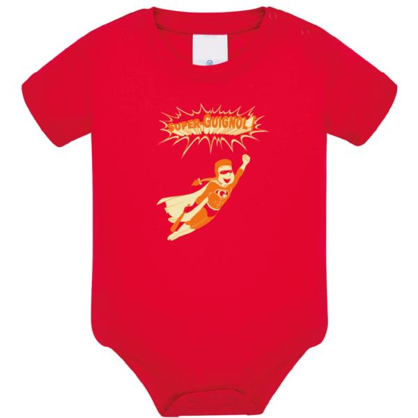 """Body bébé """"super guignol"""" couleur rouge"""