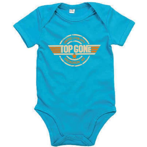 """Body bébé """"top gun"""" couleur bleu turquoise"""