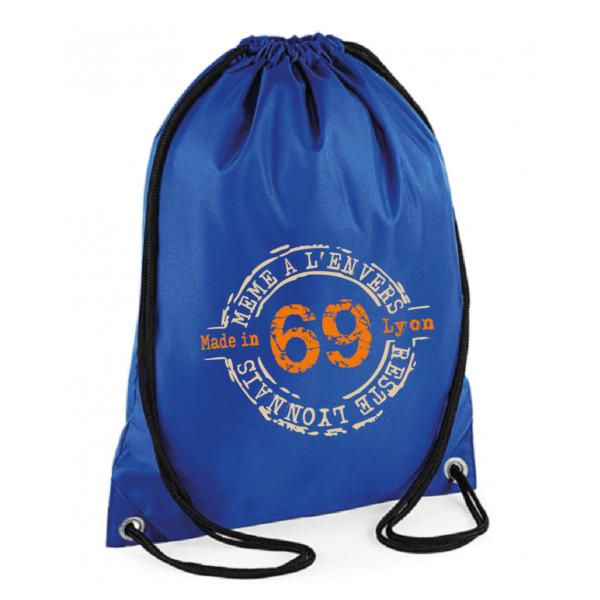 """Sac sport """"69 même à l'envers reste lyonnais"""" couleur bleu"""