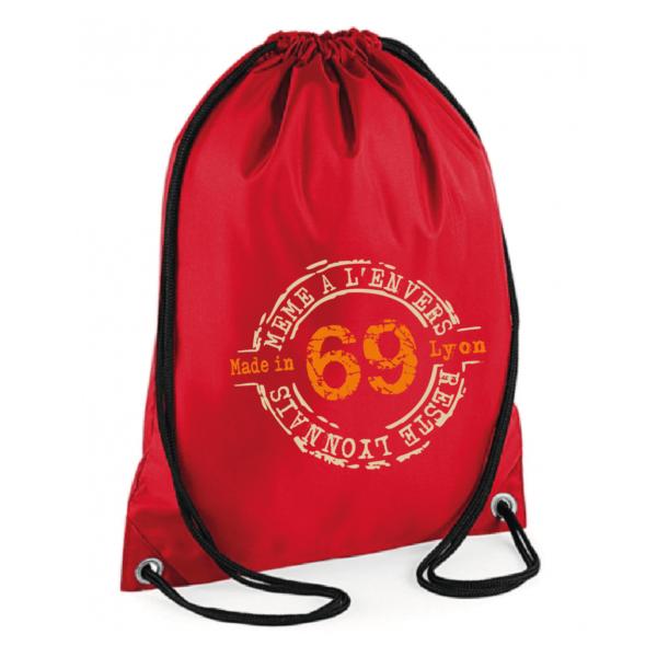 """Sac sport """"69 même à l'envers reste lyonnais"""" couleur rouge"""