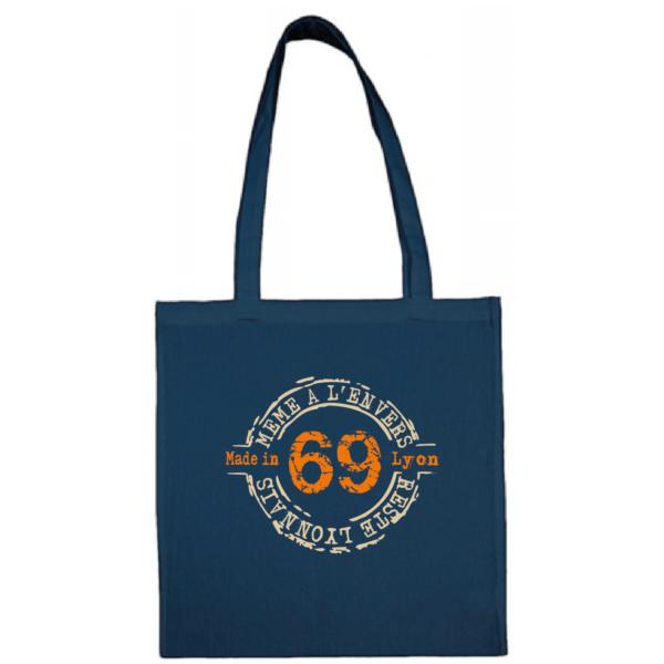 """Tote bag """"69 même à l'envers reste lyonnais"""" couleur bleu"""