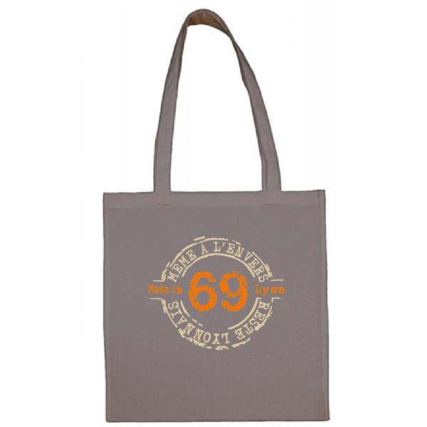"""Tote bag """"69 même à l'envers reste lyonnais"""" couleur gris"""