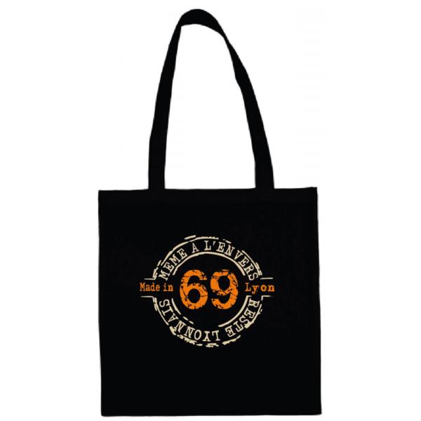 """Tote bag """"69 même à l'envers reste lyonnais"""" couleur noir"""