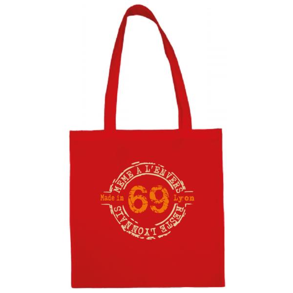 """Tote bag """"69 même à l'envers reste lyonnais"""" couleur rouge"""